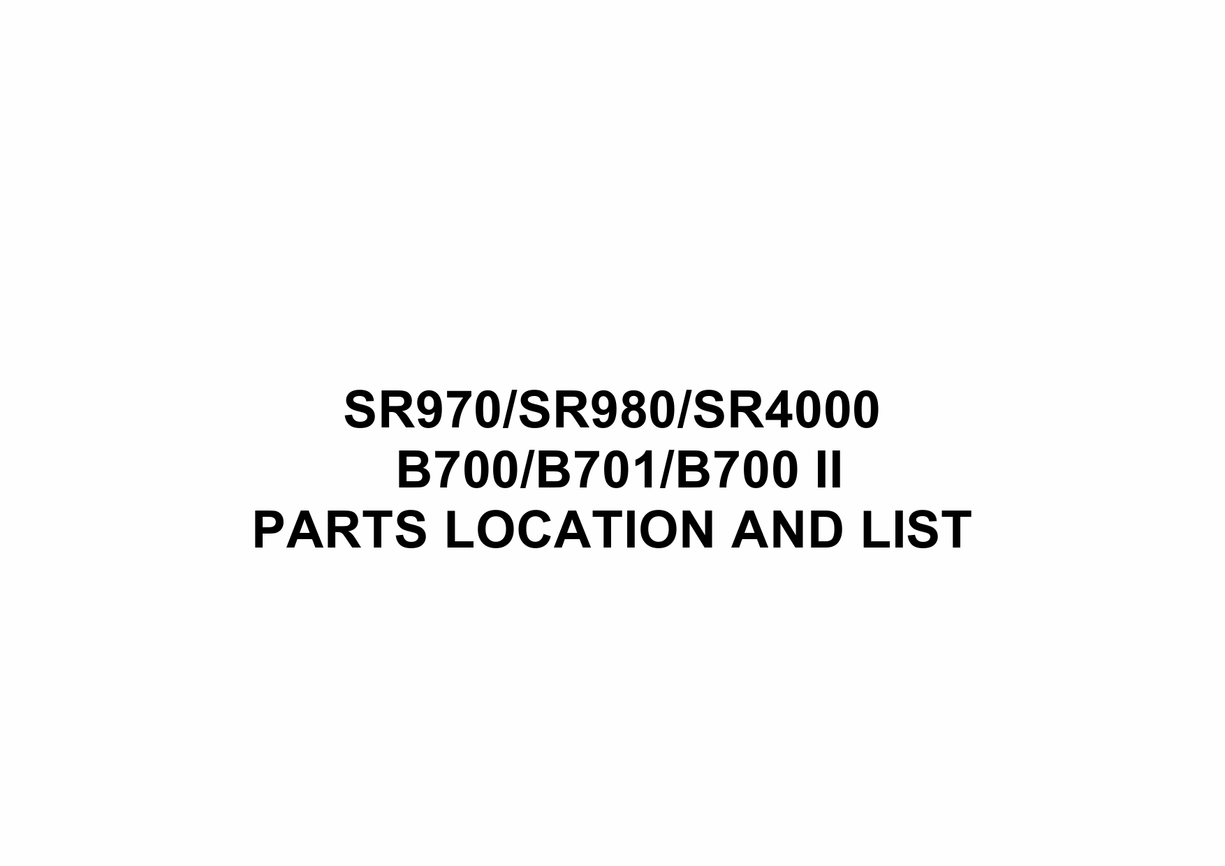 RICOH Options B700II B701 SR970-SR980-SR4000 Parts Catalog